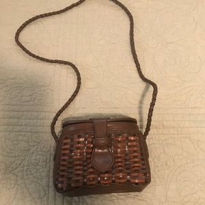 Small woven faux leather purse